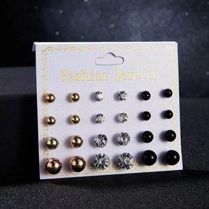 Jewelry - 💛🖤💛12 pair earring set